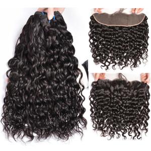 Atacado Brazilian Human Hair Weave Weave Water Wet e Wavy Virgin Bundles com orelha de 13x4 para orelha Lace frontal