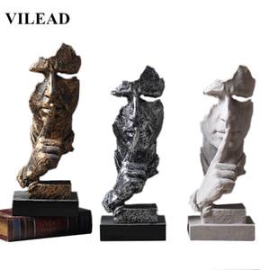 VILEAD Reçine 33cm Sessizlik Altın Ev Dekorasyonu Y200104 için Minyatürler Figürinleri Özet Sessizlik Süsleme Figürler Maske Sculpture Maske olduğunu