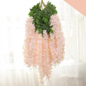 110CM Dense Wisteria fiore di seta artificiale della vite del fiore elegante Glicine Rattan Wedding Garden Home Christmas Party Giocattoli TTA1988