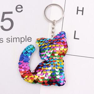 mignon trousseau dauphin étoile animaux Keychain Glitter Paillettes Pompon Cadeaux porte-clés pour femmes Sac voiture Accessoires Bijoux Porte-clés