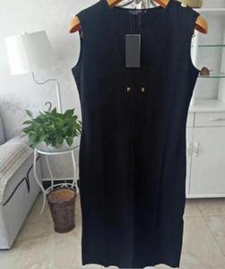 2020 إمرأة فساتين الصيف العلامة التجارية فستان بلا أكمام رسائل طباعة مع مصمم زر من قطعة واحدة تنورة تيز Vestidos Jing9050801