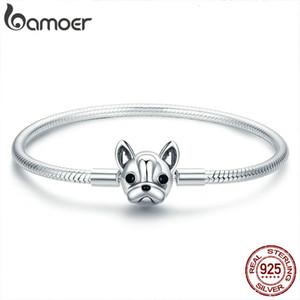 BAMOER 100% genuino argento 925 French Bulldog Alla catena del serpente Bracciale Donne Bangles Silver Jewelry 17-19CM SCB075 SH190925