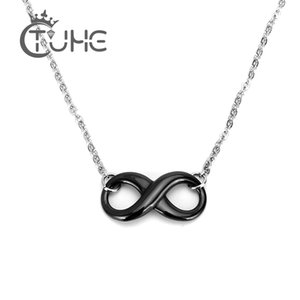Pendant s Simple Ceramic Infinity Necklace For Women 42cm Silver Chain Men Pendant Necklace Black White Innocuous Ceramic Necklace Jewelry