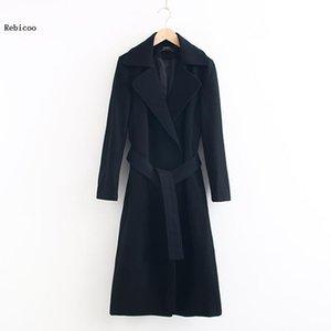 Outono de Nova alta qualidade preço barato Cashmere Brasão Inverno Casacos Feminino casaco de lã solta de tamanho grande Mulheres com cinto