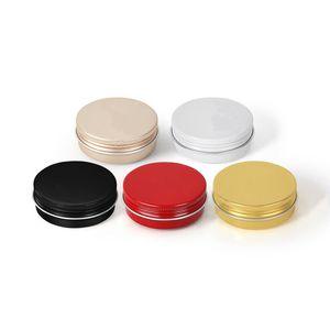 Dudak Balsam, Kozmetik, Mumlar veya çay için vidalı başlıklarla birlikte 30ml / 60ml Alüminyum Yuvarlak Dudak Teneke Depolama Kavanoz Konteynerleri