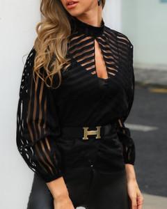 2019 Женщины Stripes Кихол фронт сетки Блуза Управление леди Mock Neck с длинным рукавом Блузка Повседневный спецодежда Tops Blusa De Mujer