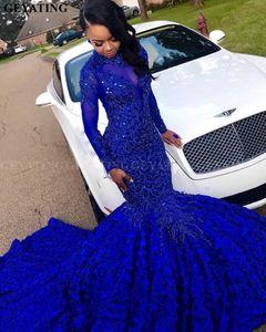 Luxo 3D Flor Sereia Royal Azul Africano Prom vestido longo mangas longas capela de trem frisado de cristal plus size vestido de festa de formatura
