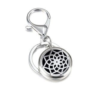 Aço Inoxidável Difusor de Aromaterapia KeyChains Flor OM Óleo Essencial Difusor Medalhão Magnético Anéis Chave Das Mulheres Dos Homens