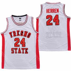 2020 Nuovo Fresno State Bulldogs FSU College Basketball Jersey NCAA Herren Bianco Tutti cucito e ricamo Uomini Gioventù Size