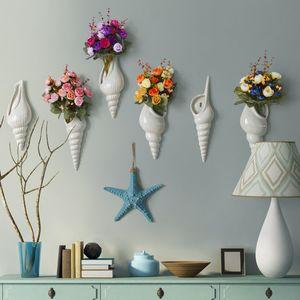 Basit, modern, yaratıcı duvar duvar vazo restoran ev dekorasyon aksesuarları Conch vazo Sanat ve El Sanatları şekilli