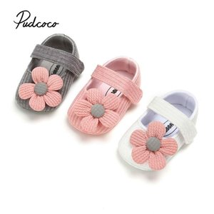 pudcoco knitted shoes Newborn baby girl flower autumn striped floral first walker sneakers shoes toddler classic casual