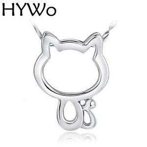 HYWo 925 sterling silver (without chain) Women Jewelry Cartoon Cat Pendant Necklaces Hollow Retro Cat Pendent Chain