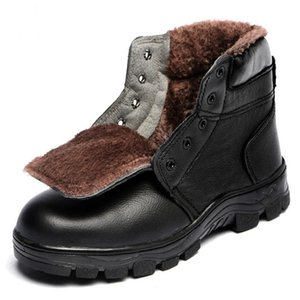 Working Shoes Man Safety Boots Steel Toe Shoes Genuine Leather Winter Boots Men Fashion Cold-proof Tooling Safety Size 46