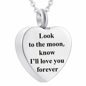 Cremation Urn Necklace for Ashes Heart Jewelry Memorial Pendant with Fill Kit - look to the moon,know I'll love you forever - 3 styles