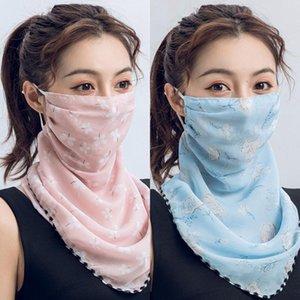 Designer Silk Mulheres Face Magic Scarf Máscara 14 Styles Máscaras pára-sol Chiffon Handkerchief exterior Windproof Meia Face à prova de poeira