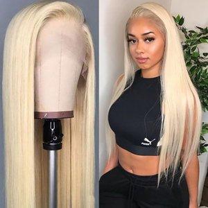 Completa Lace Humano Perucas 613 Loiro colorido por mulheres brancas longa reta frente Lace Transparente perucas com o cabelo do bebê