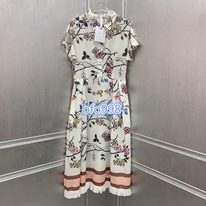 high end women girls shirt dress lapel neck put together floral pattern print short sleeve a-line mini skirt fashion design luxury dresses