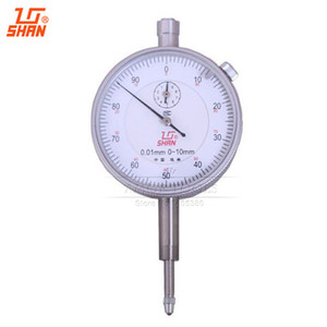 Freeshipping SHAN Dial Indicator 0-10mm 0.01mm Aluminum Body Dial Gauge Without Lug Back Micrometer Measuring Tool