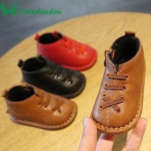 Claladoudou bebê 12-15.5cm botas de inverno Pu sapatos de inverno moda à prova de água do bebê de Brown Red Boys meninas infantis botas flats