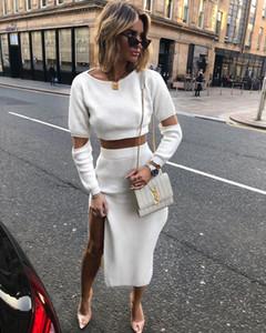 Bahar Kadın İki Adet Giysi Moda Hollow Out Uzun Kollu Mürettebat Boyun splt Elbise Yeni Stil Bayan Giyim Setleri