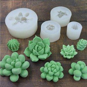 3D suculentas flores de silicona crema fondant de chocolate de moldeo del hielo fabricación de velas decoración de la torta molde de la hornada linda utensilios de cocina
