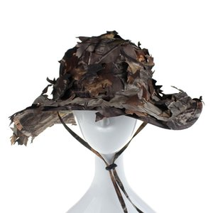 Outdoor Bionic Camouflage Dead Leaf Round Fisherman Hat Fishing Hunting Sunshade Cap Bird Watching Photography Hunting Caps