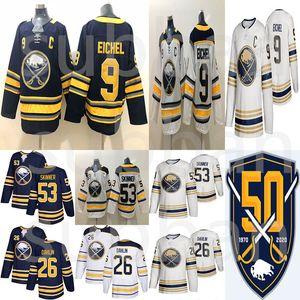 Buffalo Sabres Jersey 50th Buffalo Sabres Jersey 9 Jack Eichel 26 Rasmus Dahlin 53 Jeff Skinner 55 Rasmus Ristolainen Hockey Jerseys