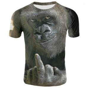 Print Designer Tshirt Funny Short Sleeve O Neck Summer Homme Tops Animal Men Tshirt Orangutan Monkey 3D