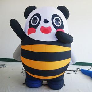 Park hayvanat bahçesi dekoratif şişme panda arı maskotu Müzik aşaması dekoratif şişme uçan panda karikatür şişme panda Özelleştirilmiş