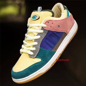 2019 New Custom Sean Wotherspoon SB Dunk Low Pro OG QS Corduroy Skateboarding Shoes Homens Mulheres Running Shoes Azul Amarelo Mens Esporte Sneakers