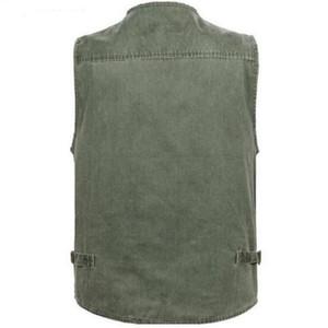 Free shipping Male Denim Vests Waistcoats Mens Outdoors Cotton Multi Pocket Sleevless Jean Jacket Men Jeans Masculino 7XL