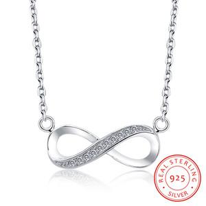 Real 925 Sterling Silver Вечность Бесконечная любовь Символ Micro Асфальтовая Цирконий ожерелье Infinite Навсегда Бесконечность Женщины ожерелье