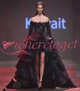 Gothic Black High Low See Просмотр через вечерние платья 2020 Взлетно-посадочная полоса с длинными рукавами Урожай кружева Elie Saab Plus Размер арабский KAFTAN DUBAI PROM платья