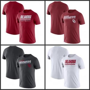 Oklahoma Sooners Sideline Legend Performans Tişörtler Baskılı Kısa Kollu O-Boyun Tee Futbol Koleji Takım Sporları tişörtleri