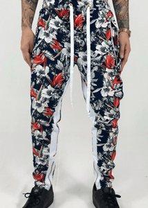Los hombres de Hawai pantalón elástico ocasional Impreso Pantalones de chándal pantalones de Hip Hop Hip Hop rasgado Delgado High Street pantalones casuales