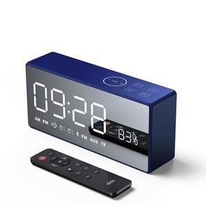 Беспроводная ретро Bluetooth динамик новый мини-дом зеркало маленький стерео радио пульт дистанционного управления будильник умный динамик