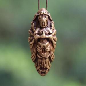 5 CM Tibet 100% Pure Bronze Buda Kwan-yin Guanyin Bodisatva Amuleto Pingente