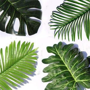 Artificial Tropical Palm Leaves Fake Plants Faux Large Palm Tree Leaf Green Greenery for Flowers Arrangement Wedding Home Party Decor