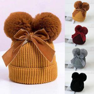 6M-36M Baby Stuff Double Pompom Hat Winter Knitted Kids Baby Girl Hat Warm Thicker Children Infant Beanie Cap Bonnet Hats