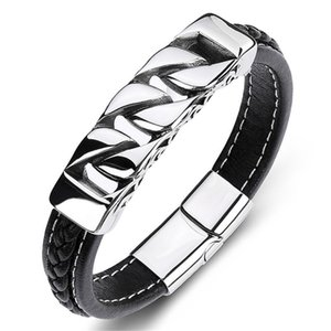 Punk Men Jewelry Braided Leather Charm Bracelet Stainless Steel Magnetic Clasp Fashion Bangles 19 21 23cm