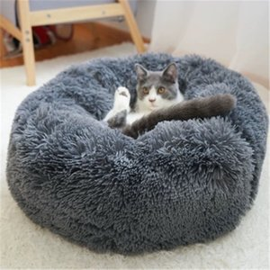 Round panier pour chien Super Soft Long Plush Cat House Pet Dog Winter Warm Deep Sleeping Bed Puppy Cushion Mat T200618