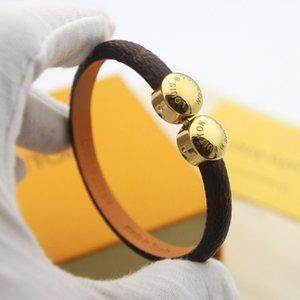 Klasik tasarımcı Aç kutusuna ile altın metali Charm klasik moda bilezik Bileklik Erkekler Kadınlar Takı kahverengi deri bileklikler