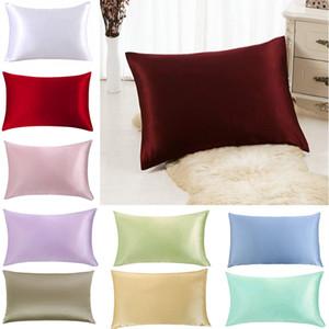 Luxo Silk Pillow Case Capa Envelope Lance decorativa Capa Home Decor Double-Sided Bed Sólidos fronha Com Invisível Zipper XD21917