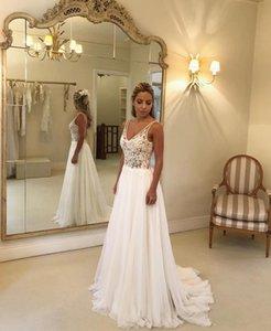 2020 Nouvelle ligne blanche en mousseline de soie col V robes de mariage en cristal de Bohème Applique dentelle Robes de mariée Mariage vestito da sposa