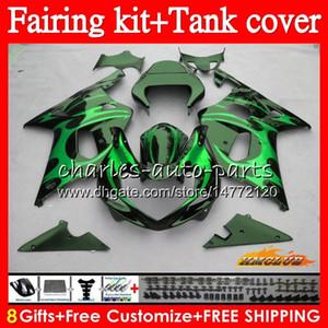 Bodys + Tank für Suzuki GSX R1000 GSXR 1000 2000 2001 2002 86HC.159 GSX-R1000 K2 GSXR1000 GSXR-1000 00 01 02 Verkleidungsset auf Verkauf Grüner Flammen
