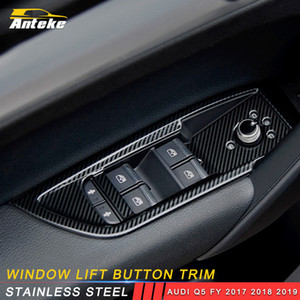 Acessórios Car Auto Janela Levante Button Switch Painel de controle Tampa guarnição Quadro Decoração Adesivo para Audi Q5 FY 2017 2018 2019