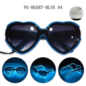Heart-shaped FG-HEART-BLUE Light eyeglasses el wire Cold light line glasses with 3V Driver For Night Club make-up Cosplay