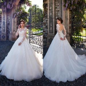 2020 nuevo diseño de los vestidos de boda apliques pura ilusión de cuello de manga larga Volver barrer de novia de la boda del tren vestido de novia Vestidos