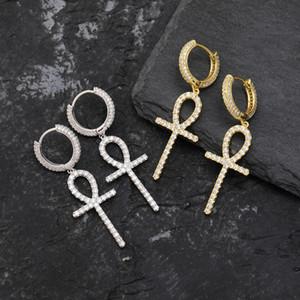 Замороженный Циркон Анк крест серьги Золото Серебро Цвет Micro Асфальтовая Bling CZ камень серьги для женщин Человек хип-хоп ювелирных изделий