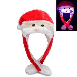 Beard Moving Santa Hat Christmas Hat Cartoon Plush Lovely Cap Masquerade Carnival Cap Christmas Kids Adult Cosplay Accessories HHA1035
